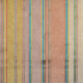 Pizarro - Coral - Yellow, red and blue stripes of different widths on light fabric