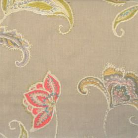 Raleigh - Coral - Stitched modern yellowsih floral design on coral brown fabric