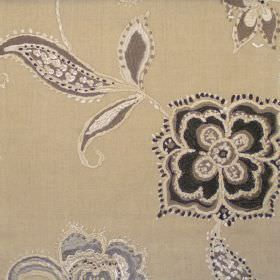 Raleigh - Linen - Stitched modern black floral design on linen brown fabric