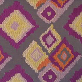Drake - Dubarry - Modern random sized dubarry purple diamonds on deep brown fabric