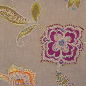 Raleigh - Dubarry - Stitched modern dubarry purple floral design on brown fabric