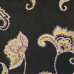 Raleigh - Mimosa - Stitched modern mimosa yellow floral design on black fabric