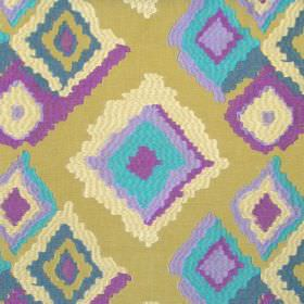 Drake - Zest - Modern random sized yellow diamonds on zest green/yellow fabric