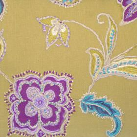 Raleigh - Zest - Stitched modern purple floral design on zesty yellow fabric