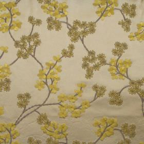 Exquisite - Mimosa - Mimosa yellow modern floral pattern on gold fabric