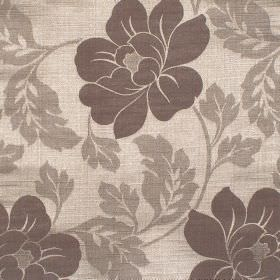 Flores - Cinnamon - Deep brown floral pattern on pale brown fabric