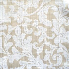 Fantasia - Oyster - Classic white foliage pattern on pale ochre fabric