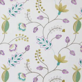 Fiorella - Amethyst - Modern amethyst purple stitched floral design on white fabric