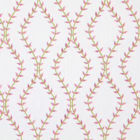 Fern - Rosebud - White fabric with rosebud pink wavy vines creating diamond shapes