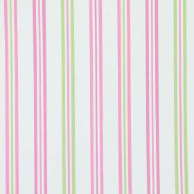 Hadley - Rosebud - Rosebud pink and green stripes on white fabric