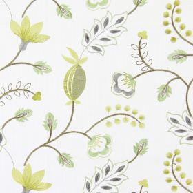 Fiorella - Avocado - Modern avocado green stitched floral design on white fabric