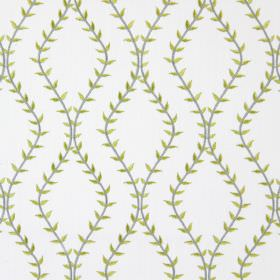 Fern - Avocado - White fabric with avocado green wavy vines creating diamond shapes