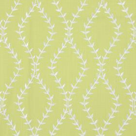 Fern - Lime - Lime green fabric with white wavy vines creating diamond shapes