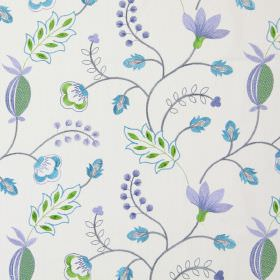 Fiorella - Azure - Modern azure blue stitched floral design on white fabric