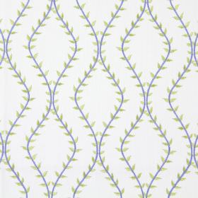 Fern - Azure - White fabric with azure blue wavy vines creating diamond shapes
