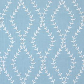 Fern - Delft - Delft blue fabric with white wavy vines creating diamond shapes