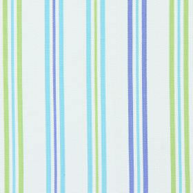 Hadley - Azure - Azure blue and green stripes on white fabric