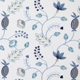 Fiorella - Indigo - Modern indigo blue stitched floral design on white fabric