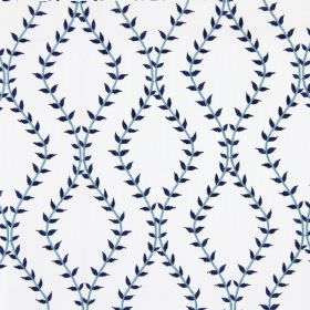Fern - Indigo - White fabric with indigo blue wavy vines creating diamond shapes