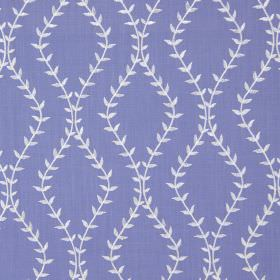 Fern - Bluebell - Bluebell blue fabric with white wavy vines creating diamond shapes