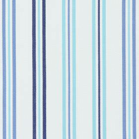 Hadley - Indigo - Indigo blue and turquoise stripes on white fabric