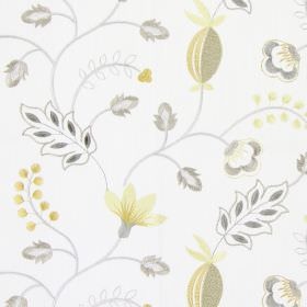 Fiorella - Sandstone - Modern sandstone grey stitched floral design on white fabric