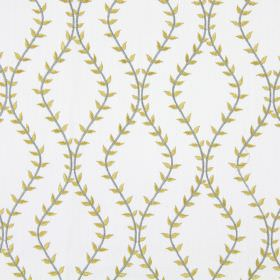 Fern - Sandstone - White fabric with sandstone grey wavy vines creating diamond shapes
