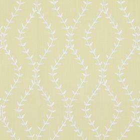 Fern - Vellum - Vellum yellow fabric with white wavy vines creating diamond shapes