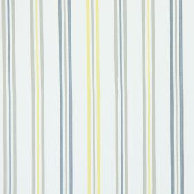 Hadley - Sandstone - Sandstone grey and yellow stripes on white fabric