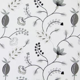 Fiorella - Charcoal - Modern charcoal black stitched floral design on white fabric