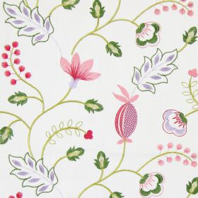 Fiorella - Rosebud - Modern rosebud pink stitched floral design on white fabric