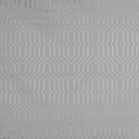 Mercury - Zinc - Elegant geometric patterns covering cotton and polyester blend fabric in subtle light grey and silver-grey colours