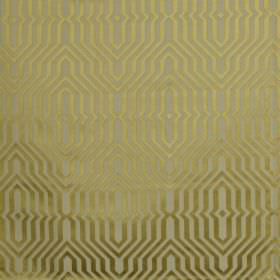 Mercury - Citron - Lustrous gold patterns creating an elegant geometric style design on cotton and polyester blend fabric in light grey