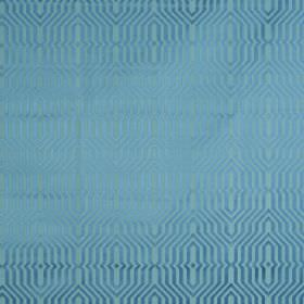 Mercury - Marine - Two bright, vibrant, lustrous shades of aqua blue making up an elegant geometric design on cotton and polyester fabric