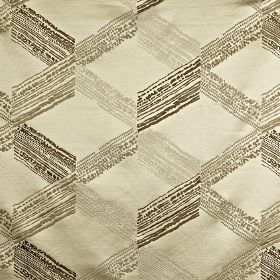 Connect - Oyster - 100% polyester fabric made in light beige and grey-brown shades, featuring a slightly patchy cube style geometric design