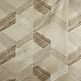Connect - Vellum - Fabric made from 100% polyester featuring a cube style geometric design in light grey, white, dark brown and beige