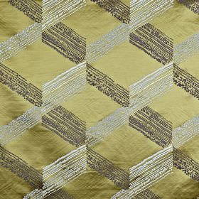 Connect - Citron - Lustrous light gold 100% polyester fabric behind a slightly streaky cube style geometric design in various grey shades