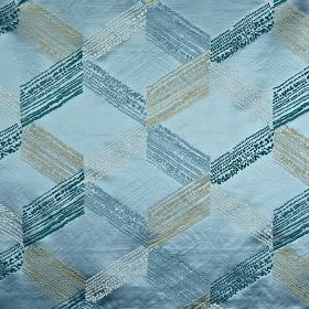 Connect - Marine - Light, dark and bright shades of blue and grey making up a lustrous, elegant cube style design on 100% polyester fabric