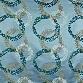 Exposure - Marine - Dotted, interlocking marine blue, iron grey & off-white circles on a lustrous sky blue 100% polyester fabric background