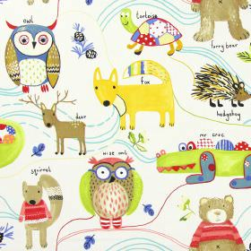 Nature Trail - Paintbox - White childrens fabric with simple colourful forest animals