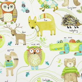 Nature Trail - Marmalade - White childrens fabric with simple colourful forest animals