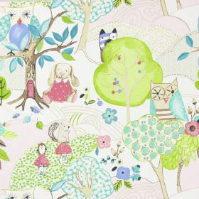 Woodland Friends - Rose - White IKEA fabric with modern childrens drawing of forests and woodland animals in rose