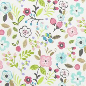 Sweet Briar - Rose - Rose pink and light blue modern summertime flowers on white fabric