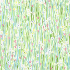 Spring Daisy - Rose - Country style meadow design with green and blue grass, daisies and rose pink flowers on fabric
