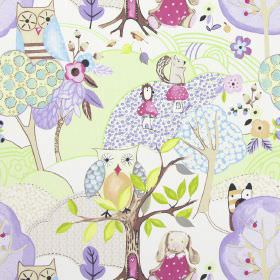 Woodland Friends - Lavender - White IKEA fabric with modern childrens drawing of forests and woodland animals in lavender purple