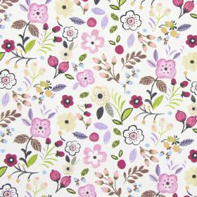 Sweet Briar - Lavender - Lavender purple modern summertime flowers on white fabric