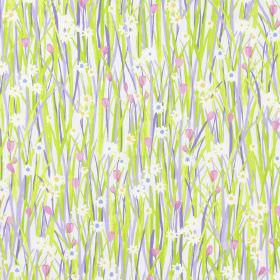 Spring Daisy - Lavender - Country style meadow design with green and lavender purple grass, daisies and pink flowers on fabric