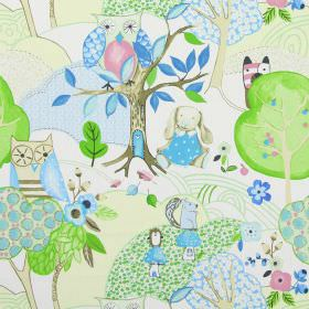 Woodland Friends - Sky - White IKEA fabric with modern childrens drawing of forests and woodland animals in sky blue