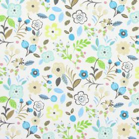 Sweet Briar - Sky - Sky blue modern summertime flowers on white fabric