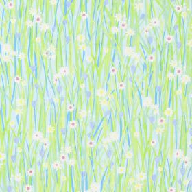 Spring Daisy - Sky - Country style meadow design with green and sky blue grass, daisies and blue flowers on fabric